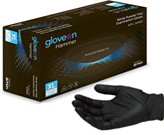 Disposable Nitrile Gloves (Black) - 5 mil, Medical Grade, Latex Free, Powder Free, Standard Cuff (100 Count by Weight, Size Large)