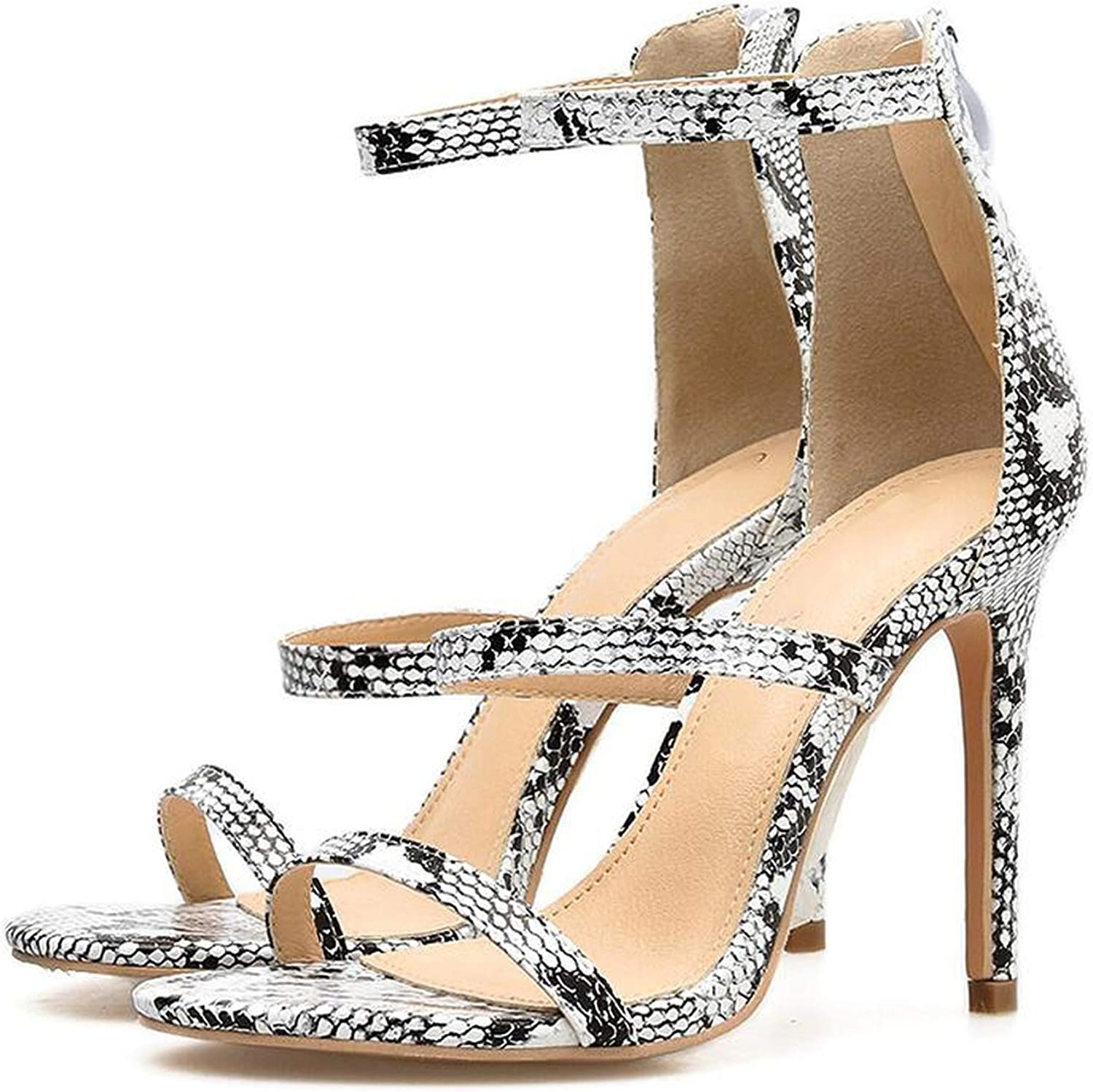 Sexy Leopard Print Gladiator Sandals Thin High Heels Sandals Open Toe Pumps shoes,Serpentine,9