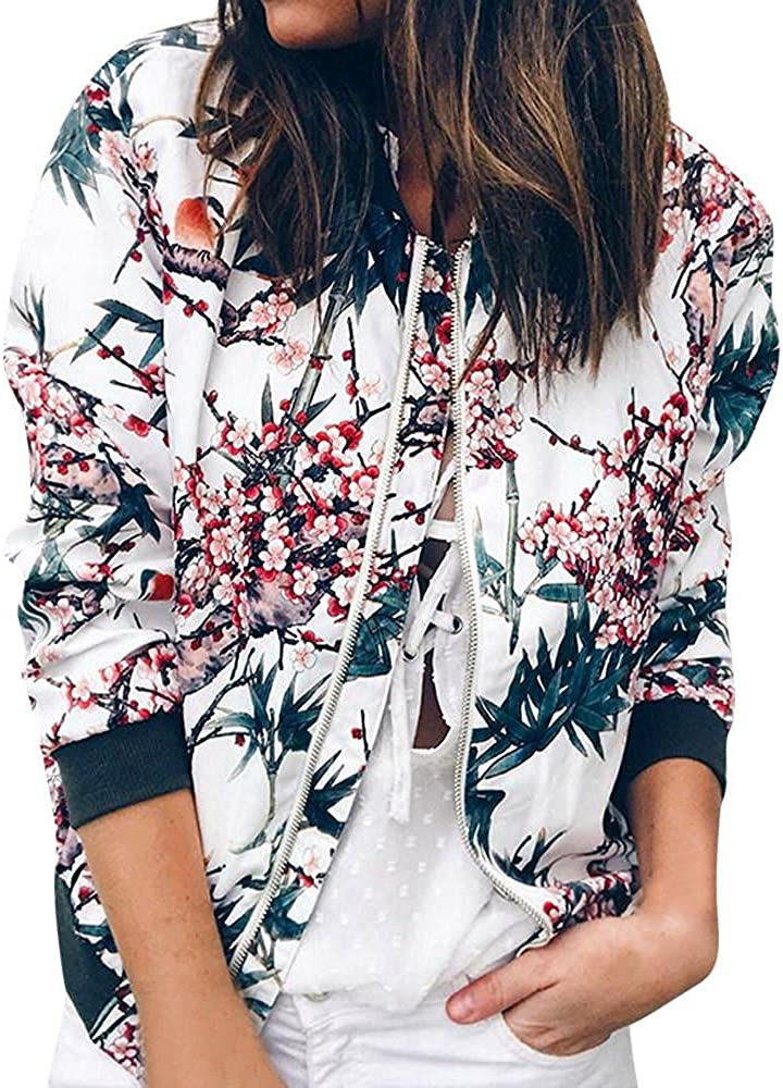 SUIQU Womens Jackets Lightweight Zip Up Casual Inspired Bomber Jacket Fashion Printed Coat Crewneck Short Outwear Tops