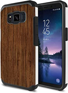 FINCIBO Case Compatible with Samsung Galaxy S8 Active G892A 5.8 inch, Dual Layer Hard Back Hybrid Protector Case Cover Anti Shock TPU for Galaxy S8 Active (NOT FIT S8/ S8 Plus) - Red Brown Wood