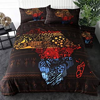 Sleepwish Ethnic African Bedding Abstract Continent Map of Africa Geometric Duvet Cover 3 Pieces Tribal Ancient Bedspreads Set (Queen)
