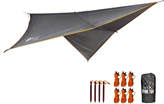 Ryno Tuff Hammock Rain Fly - Camping Tarp 10x10 Foot, The Tent Tarp is Waterproof Rated at 3000MM - Hammock Tarp Includes Aluminum Stakes and Guy Lines. Ultralight and Ultra-Durable