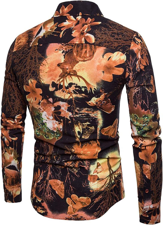 Mens Vintage Print Long Sleeve Shirts Slim Linen Lapel Printed Tops Casual Button Down Tee Shirt Blouse