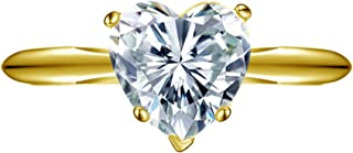 Clara Pucci 1.40 CT Designer Heart Shaped Brilliant Cut CZ Solitaire Ring Band Real 14K Solid Yellow Gold
