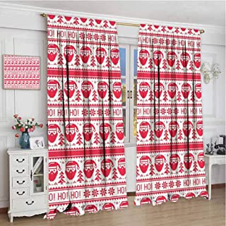 GUUVOR Nordic Room Darkened Heat Insulation Curtain Ho Ho Ho Christmas Illustration with Santa with Full Beard Cross Stitch Pattern Living Room W96 x L96 Inch Scarlet White