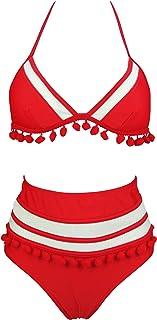 COCOSHIP Women's Mesh Striped High Waist Bikini Set Tassel Trim Top Halter Straps Swimsuit(FBA)