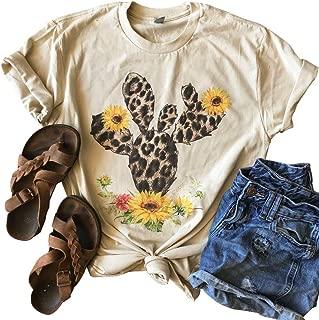 Cactus Shirt Sunflower Cute Graphic T-Shirt Women Short Sleeve Flower Print Summer Casual Blouse Tee