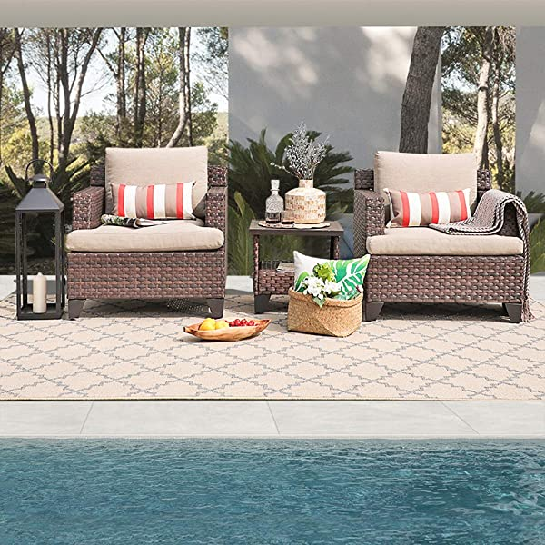 SUNSITT All Weather Woven Deluxe 3 Piece Chat Set Lounge Chairs And Side Table W Aluminum Top Neutral Beige Olefin Fabric Cushions Brown Wicker