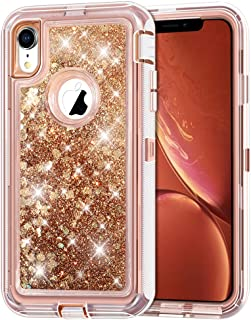 """iPhone XR Case, Anuck 3 in 1 Hybrid Heavy Duty Defender Armor Case Sparkly Floating Liquid Glitter Protective Hard Shell Shockproof Anti-slip TPU Bumper Cover for Apple iPhone XR 6.1"""" 2018 - Rose Gold"""
