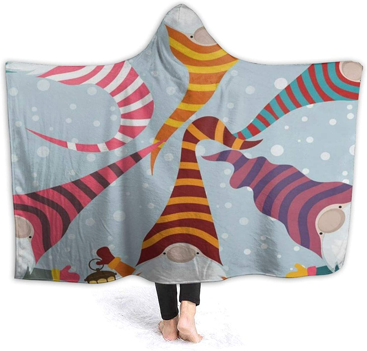 Fleece Ranking TOP17 Wearable Hooded Blanket Christmas Card Luxury goods Funny Gnomes Soft