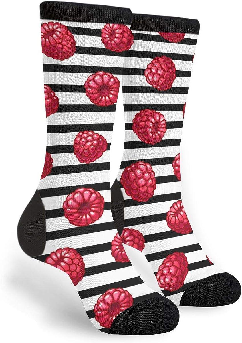 Raspberries Striped Unisex Casual Sports Socks Knee High Athletic Long Tube Stockings