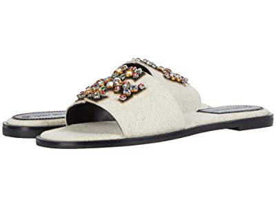 Tory Burch Ines Embellished Slide (Natural/Perfect Black/Gold) Women