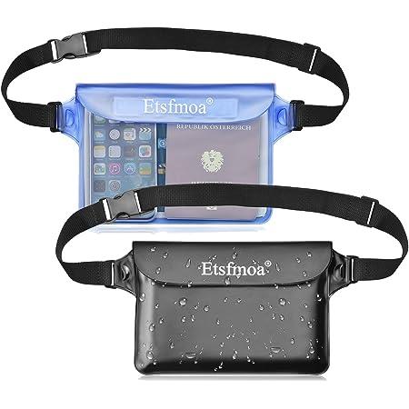 Etsfmoa 防水ポーチ 防水ケース 防水ウエストポーチ 完全防水 スマホ 小物入れ 海 海水浴 プール お釣り アウトドア 大容量 三重チャック 4WAY PVC素材 メンズ レディース 2個セット