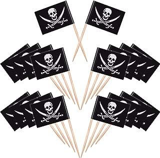 100 Piezas de Palillos de Dientes de Cóctel de Pirata Topper de Pastel de Bandera para Comida, Aperitivo, Cóctel, Magdalena Decoración para Fiesta de Cumpleaños Navidad Niños