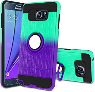 Atump Galaxy Note 5 Case, Note 5 Phone Case with HD Screen Protector, 360 Degree Rotating Ring Holder Kickstand Bracket Cover Phone Case for Samsung Galaxy Note 5 Mint/Purple