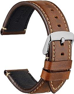 WOCCI Saddle Style Vintage Bracelet de Montre en Cuir avec Boucle en Acier Inoxydable, Bande de Remplacement pour Homme, 1...