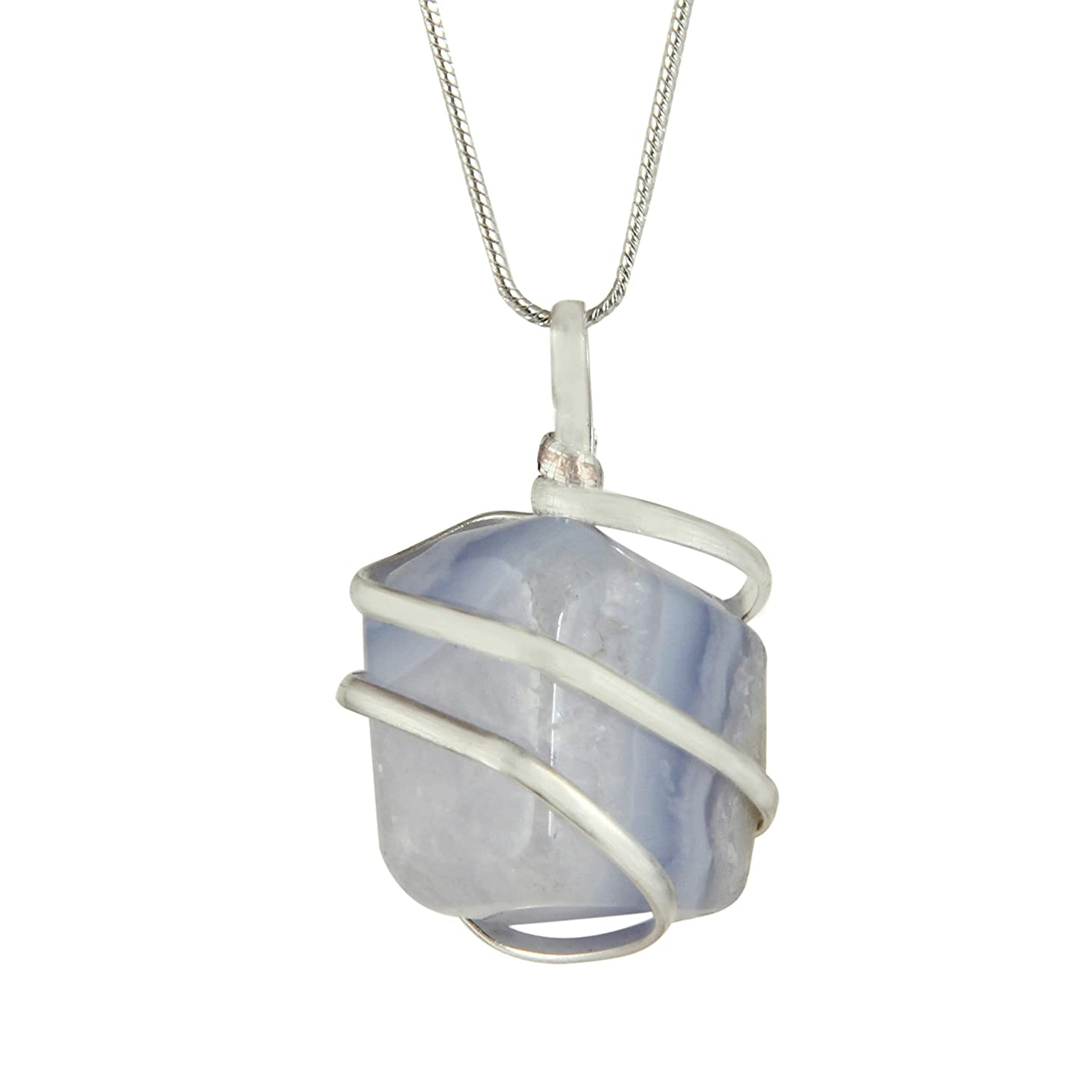 Blue Lace Agate Gemstone Pendant Necklace - Natural Crystal Healing   Stone of Encouragement and Support  Throat Chakra & Communication Aid   for Security and Self-Confidence  Jewelry for Men & Women