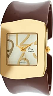 Viva 14k Gold Plated Brown Acrylic Bangle Fashion Watch #V26