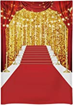 Funnytree 5x7ft Durable Fabric Red Carpet Photography Backdrop No Wrinkles Golden Glitter Wedding Birthday Awards Ceremony Background Baby Shower Party Decor Photo Portrait Studio