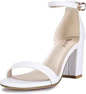 Women's Cookie-MI Block Heels Sandals 3 Inch Chunky Open Toe Ankle Strap Wedding Dress Pump Shoes