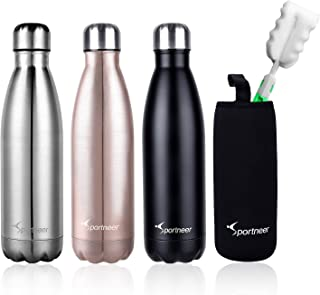 4d4268447d Sportneer 17 Oz Stainless Steel Vacuum Insulated Water Bottle Leak-Proof  Double Wall Vacuum Insulated