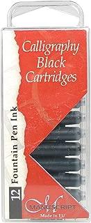 Manuscript Pen MC0461CB Fountain Pen Ink Calligraphy Cartridges, Black, 12-Pack