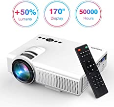 TENKER Upgrade Lumens Q5 Mini Projector, with Big Display LED Full HD Video Projector,..