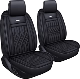LUCKYMAN CLUB 2 PC Front Car Seat Covers with Waterproof Leather Universal for Sedan SUV Truck Fit for Most Chevy Hyundai Kia Honda Mazda Nissan Toyota (Black- 2pcs)
