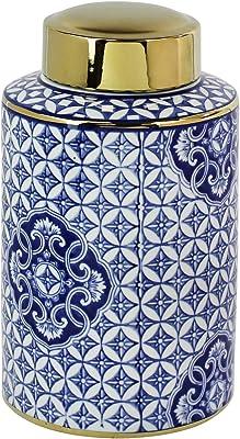 Sagebrook Home, Blue Decorative Ceramic Covered JAR, White/Gold, 7x7x11.75