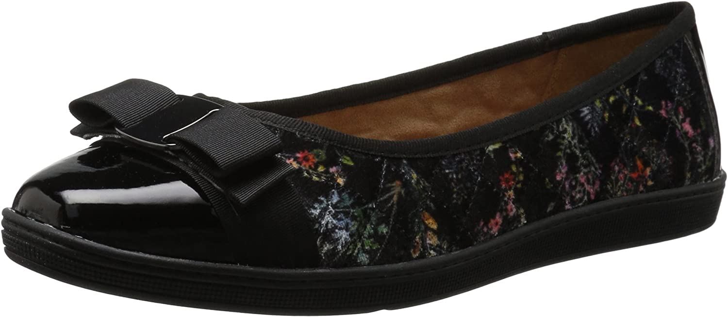 Soft Style by Hush Puppies Woherren Faeth Flat, Dark Dark Dark Floral Velvet, 11 M US 325