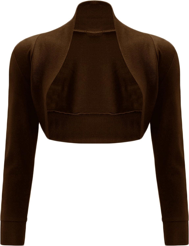 GirlsWalk Women's Plain Long Sleeves Bolero Shrug Top