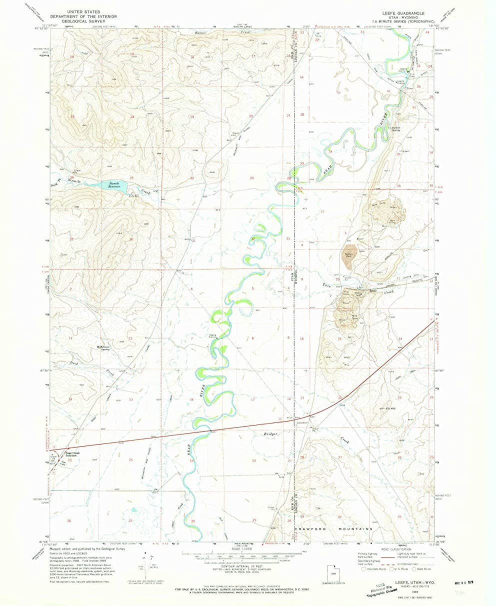 YellowMaps Leefe WY topo map, 1:24000 Scale, 7.5 X 7.5 Minute, Historical, 1969, Updated 1973, 26.9 x 22 in