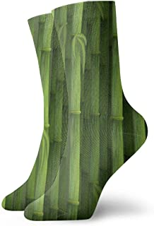 Seamless Green Bamboo Background Crew Athletic and Dress Socks for Mens Womens