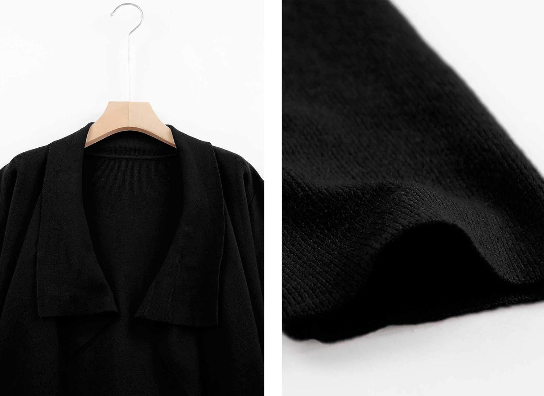 Kisscynest Women's Drape Front Open Cardigan Long Sleeve Irregular Hem with Waistband