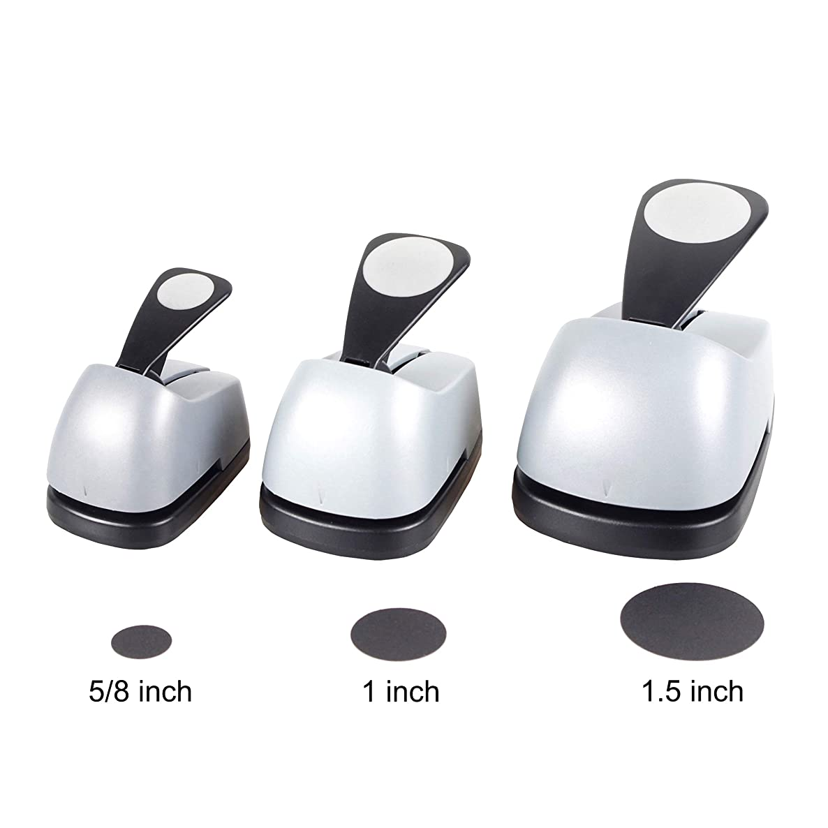 Circle Punch 1.5inch + 1 inch + 5/8 inch Craft Lever Punch Handmade Paper Punch(1inch+0.625inch Circle)