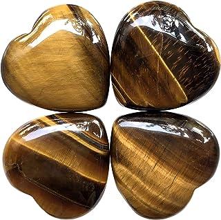 "Hslutiee 1""(25mm) Mini Crystal Heart Stone Set, Polished Carved Healing Chakra Puffy Love Pocket Stones Reiki Balancing 4P..."