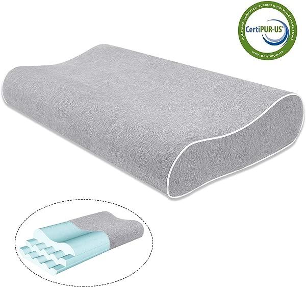 Mugetu 凝胶输注记忆泡沫枕头高度可调颈椎枕头支撑轮廓床头枕护颈背部和侧卧