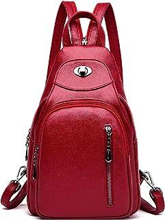 LOVE LABINI Damen Rucksackhandtaschen Einbrecher Schultertaschen Klein Umhängetaschen PU Shopper Wild Tasche Brusttasche Rot