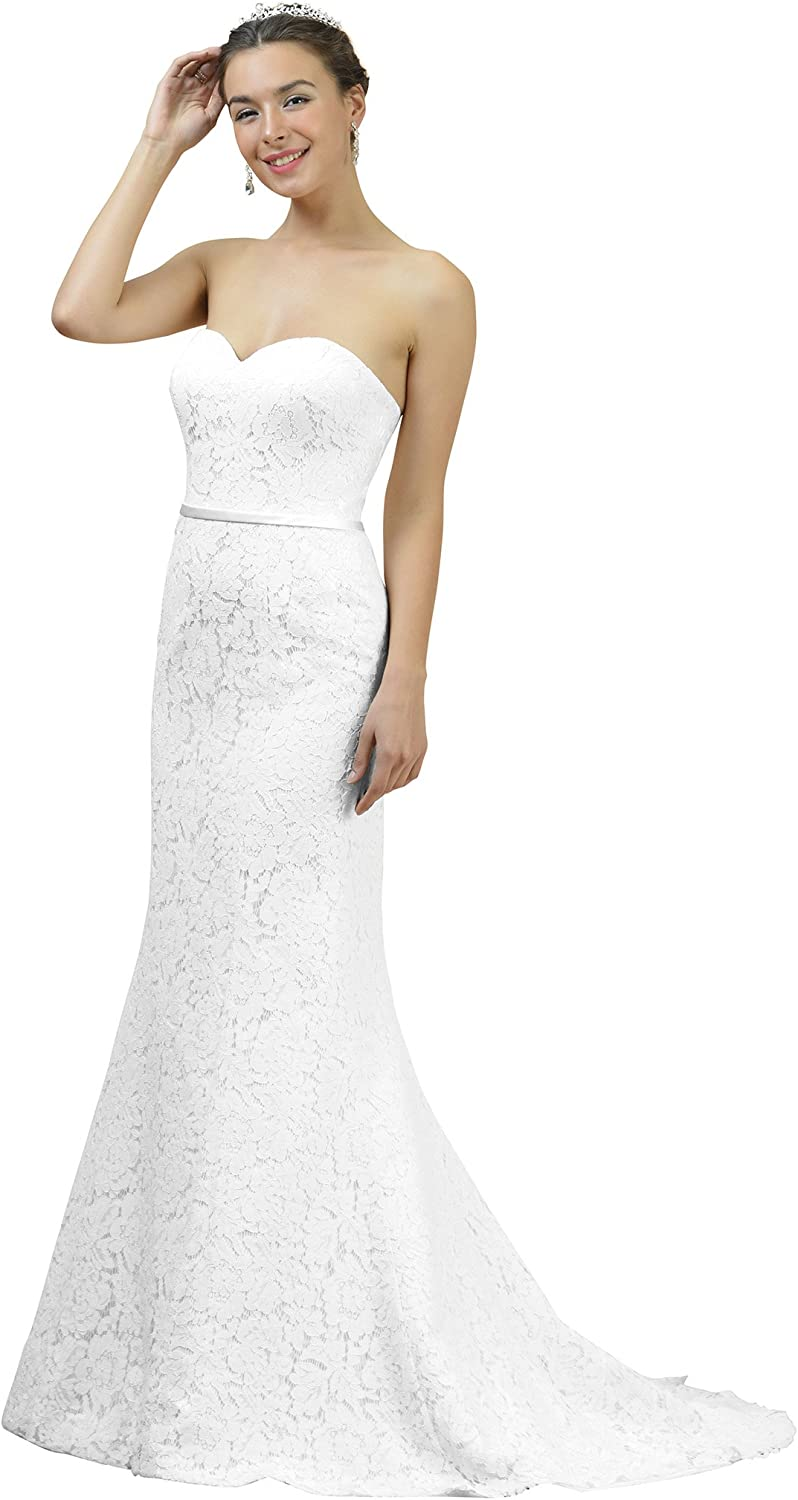 Alicepub Strapless Lace Wedding Dress Long Sweetheart Maxi Mermaid Bridal Gown