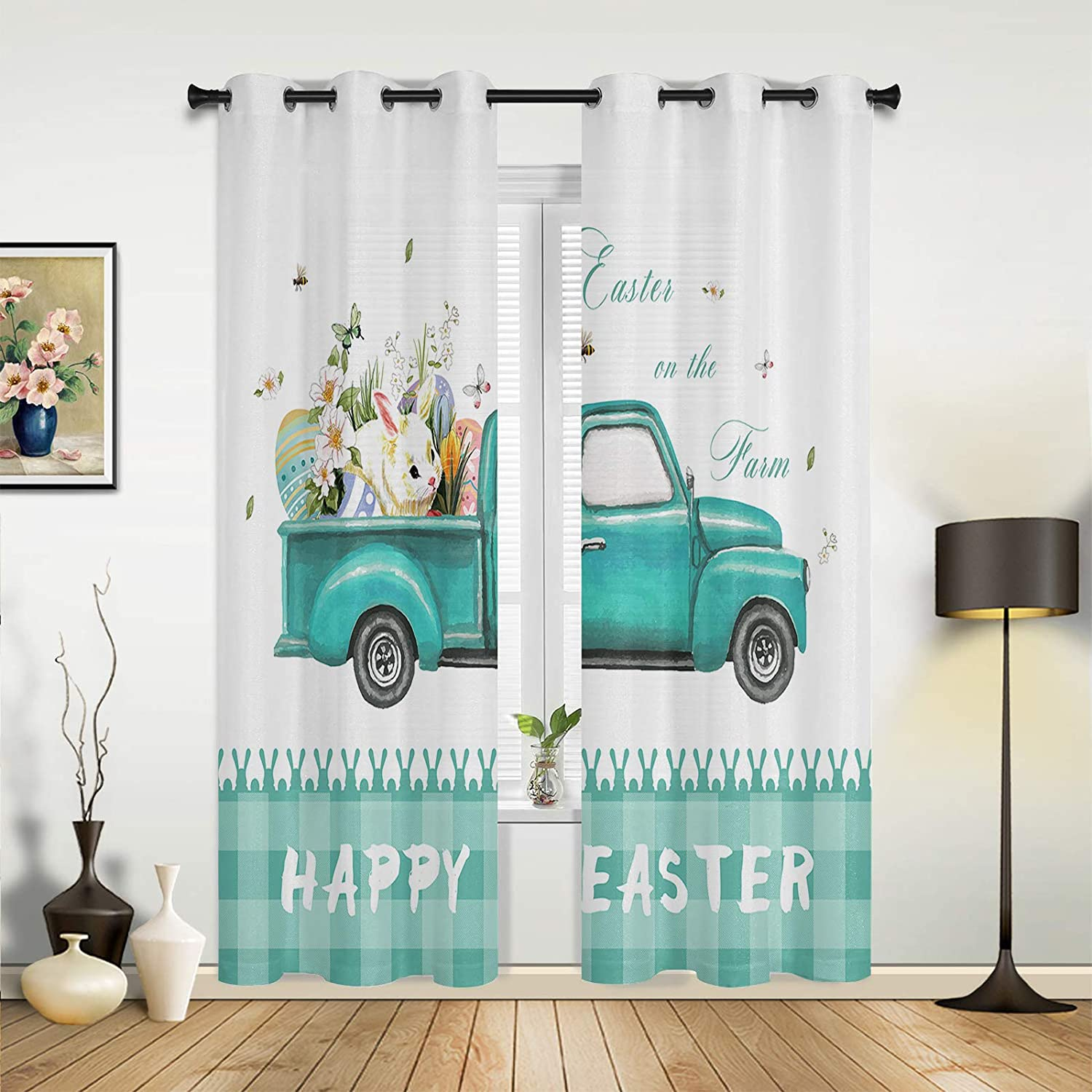 Window Sheer Curtains for Some reservation Bedroom Easter Eggs Super intense SALE Happy Room Living