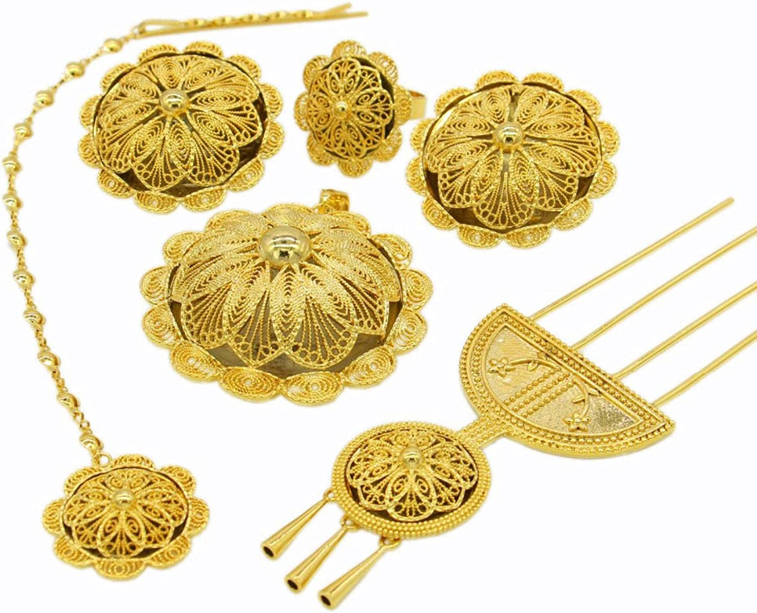 Earring/Necklace/Pendant/Ring/Hairpin/Hairchain Jewelry Set For Women Gold Color/Copper Ethiopian Wedding Gifts