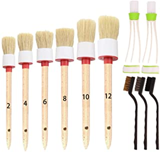SUBANG 11 Pieces Car Cleaner Brush SetIncluding Natural Boar Hair Detail Brush (Set of 6) Auto Detailing Brush Set for Cle...