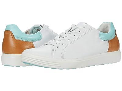 ECCO Soft 7 Street Sneaker (White/Eggshell Blue) Women