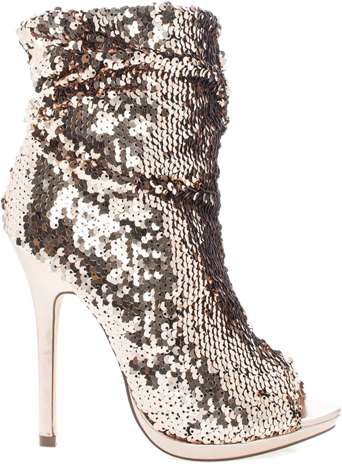 Liliana Maxim-12 Multi color Sequins Peep Toe High Heel Above Ankle Bootie