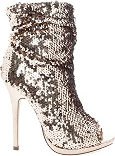 Maxim-12 Multi Color Sequins Peep Toe High Heel Above Ankle Bootie