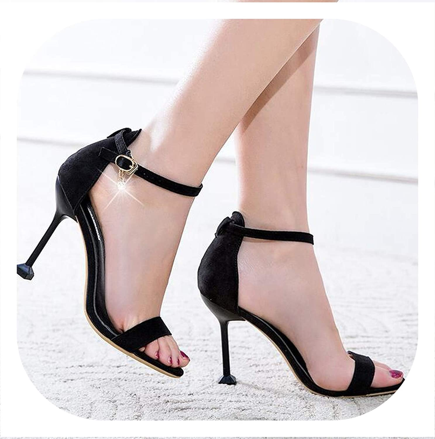 HANBINGPO Women Sandals 2019 Summer High Heels Apricot Heels Women Concise Suede Party Pump shoes