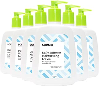 Amazon Brand - Solimo Extreme Moisturizing Lotion for Dry, Sensitive Skin, Fragrance Free, 16 Fluid Ounce (Pack of 6)