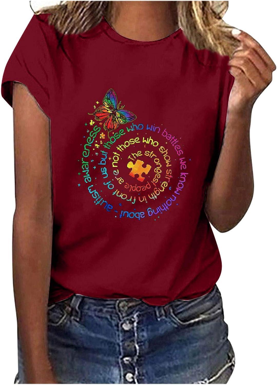 FABIURT Womens Summer Tops,Women 2021 Fashion Sunflower Printed Short Sleeve O Neck T Shirt Casual Loose Blouse Tee Tops