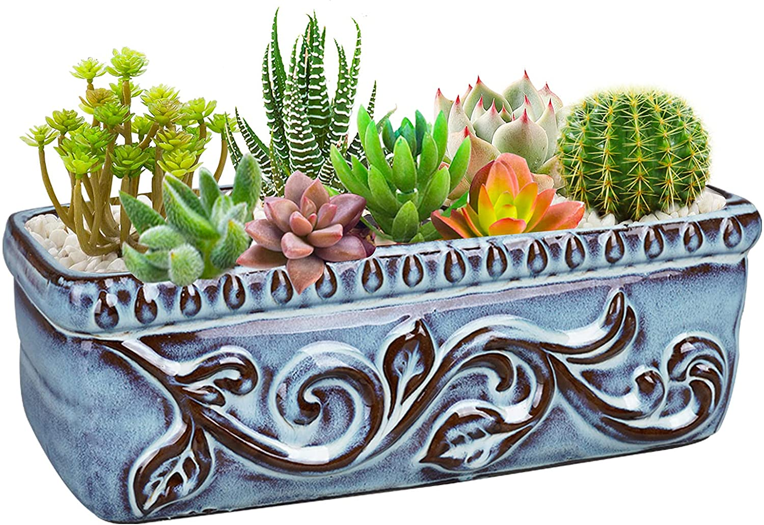 Fivepot 10 Inch Blue Ceramic Flower Pot Rectangular Planter for Succulent Arrangement Herb Plants Indoor and Outdoor with Drainage Hole