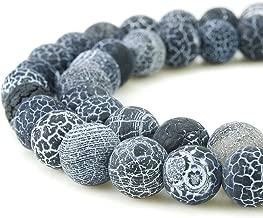 Black Crackle Agate Beads